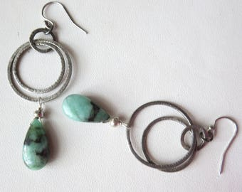 Natural Emerald and Sterling Silver Earrings