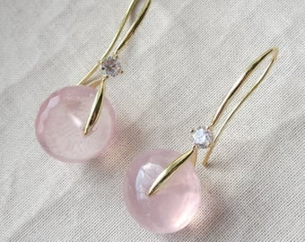 Rose Quartz Gold Ice Pick Earrings
