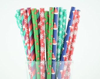Christmas Paper Straw Mix/Christmas Straws/Santa Hat/Snowflake/Striped/Heart/Party Decor/Cake Pop Sticks/Mason Jar Straws/Party Supplies