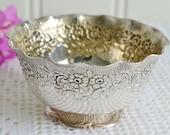 Sugar and candy bowl , ornate vintage Swedish silver plate, 50s Nils Johan, Amsterdam