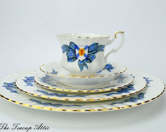 Royal Albert 5 Piece Place Setting Nova Scotia Tartan, Bone China English Tea Cup Set, Replacement China, ca 1962-1970