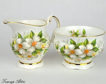 Elizabethan Dogwood Flowers Cream and Sugar Set, English Bone China Creamer and Open Sugar Bowl, Replacement china, ca, 1950-1970