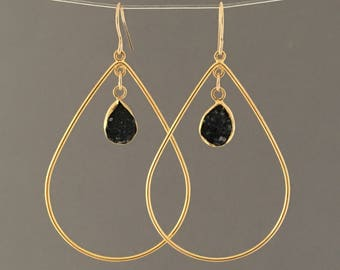 Black Druzy Gold Teardrop Earrings
