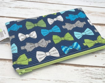 Reusable Snack Bag ~ Zippered Pouch ~ Favor Bag ~ Goody Bag ~ Eco Friendly in Bowties