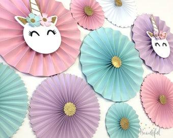 Unicorn Backdrop | Unicorn Party Decor | Unicorn Party Decor | Unicorn First Birthday | Unicorn Rosettes | Unicorn Paper Fans