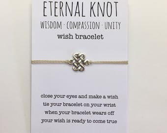 wish bracelet, eternal knot bracelet, friendship bracelet, boho style