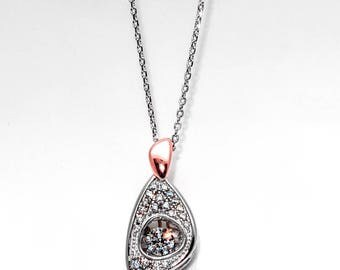 Necklace in Sterling Silver Rose Gold Accent Pave and Movable Cubic Zirconia 16 to 18 inch length