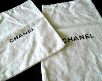 """Pair of White Wool Chanel Storage Bags--Black Drawstring Pulls--14"""" Long x 9-1/2"""" Wide--Very Clean + Great Condition"""