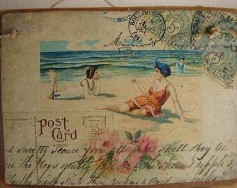 Shabby chic,seaside postcard,vintage style image sealed onto wood. Beach Summer vintage ephemera