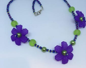 Lime Green & Purple Large Flower Necklace Handmade Necklace-Gifts for women-Gifts for her-Ladies Jewellery-Ladies gifts Floral Necklace