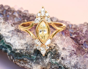 Unique Engagement Marquise Diamond Ring - Vintage, Art Deco , Cluster Diamond Ring, 14K Yellow Gold, Ring Size 7