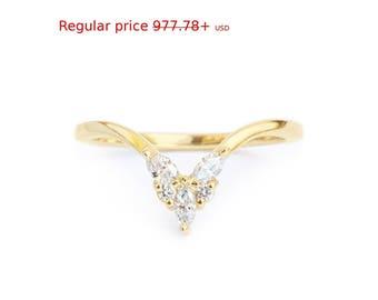 Summer Sale! Diamond V Ring, Side Wedding Band, Diamond Stacking Ring - Unique Chevron Diamond V Ring, Butterfly Ring, Diamond 14K Gold Band