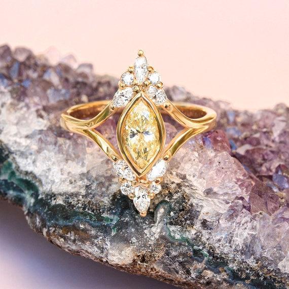 Unique Engagement Marquise Diamond Ring Vintage Art Deco