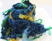 XMAS IN JULY up to 50%off Hand  Knit  Scarf, in Blue with Green, Blue and Gold Long Curls, of Handspun Hand Dyed Wool Yarn