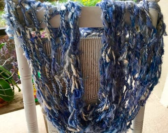 XMAS IN JULY up to 50%off New Beautiful Hand Knit Cowl in Blues made of Raw Handspun Hand Dyed Wool Yarn