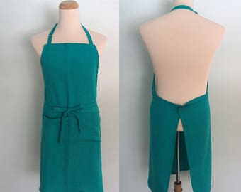 Teal Blue Apron with Pocket and Towel Loop in Linen, Unisex Chef Apron, Extra wide Apron, Adjustable, Gourmet Gift, Foodie Gift