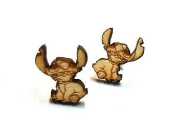 Stitch Earrings  Laser Cut Jewelry   Hypoallergenic Studs   Wood Earrings