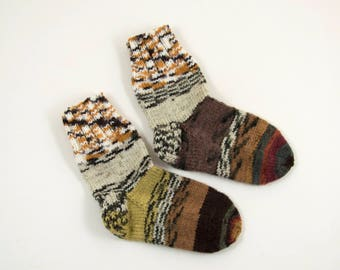 Knitted Wool Socks - Gray, Brown, Yellow and Beige, Size Small