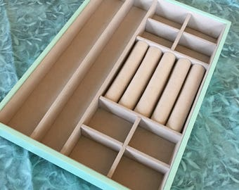 Supply Jewelry Tray. Tiffany Blue and Beige Jewelry Keeper. Jewelry Organizer. Stackable Jewelry Tray