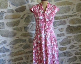 Pink summer dress by Paul Mausner, medium sized vintage French dress