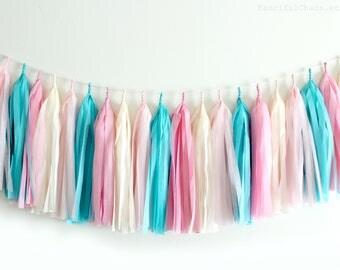 Turquoise, Pink, Cream Tissue Paper Tassel Garland- Wedding, Birthday, Bridal Shower, Baby Shower, Garden Party Decorations