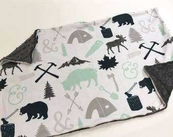 Navy Blue and Mint Woodland Baby Blanket Lovey, Baby Boy Minky Lovey, Grey Deer and Bear Baby Blanket, Ready to Ship, Boy Baby Blanket