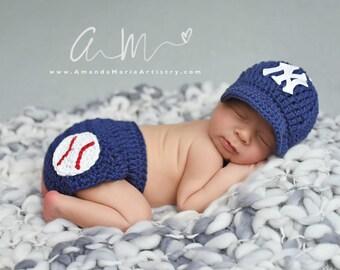 Newborn Baby Boy Baseball  cap, Diaper Cover crochet Baseball outfit,crochet baby shower gift, Newborn Baby PHOTO PROP...Baseball Team