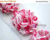 ON SALE 1/2 or 1 Yard Increment - HOT Pink Hearts - Chiffon Shabby Rose Trim - Valentine's Day - Headband Flowers - Hot Pink Blossom Supplie