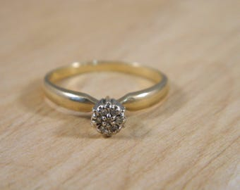 Vintage Diamond Engagement Ring / 10k Yellow and White Gold Diamond Ring / Mine Cut Diamond Ring Size 6.75