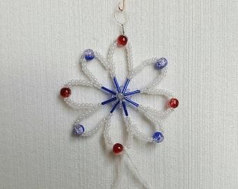 Hand-beaded Red White Blue Flower shape SunCatcher/ornament