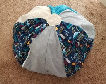 Bean Bag Chair Cover ~ Stuffed Animal Storage ~ Tourquoise