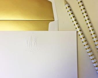 Embossed Monogram Notecards