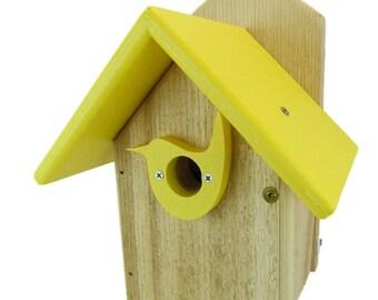 Post Mount Cedar Wren House w Yellow Poly Roof