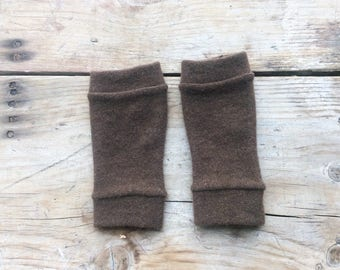 XS Fingerless Gloves in brown cashmere, wrist warmers, typing gloves in greys