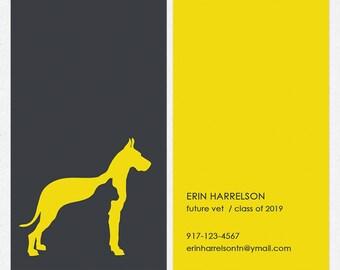 dog walker - dog trainer business cards - full color both sides - FREE UPS ground shipping