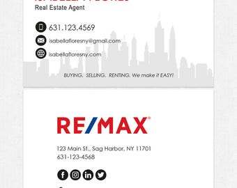 no photo REMAX real estate deluxe business cards - thick, color both sides - FREE UPS ground shipping