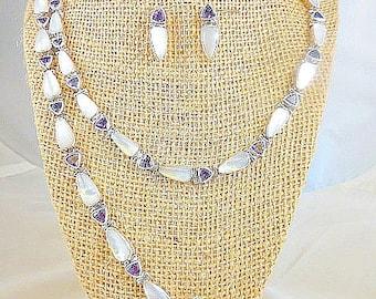 Antoinette Cleoni Amethyst Mother of Pearl Sterling Necklace Bracelet Earring Set