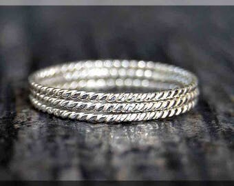 Set of 3 Ultra Thin Twisted Sterling Silver Stacking Ring, Dainty Sterling Ring, Tiny Sterling Stacking Ring, Hand Twisted Stacking ring