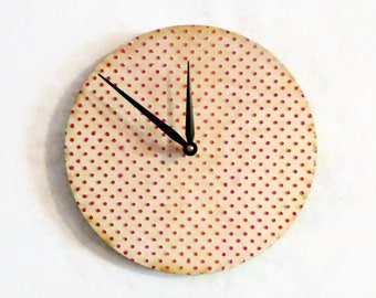 Wood Wall Clock, Polka Dots, Decor and Housewares, Home Decor, Unique Wall Clocks, Home and Living, Unique Gift For Her