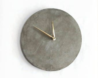 "Cement Wall Clock, 12"" Wall Clock, Gray Concrete  Decor, Home and Living, Home Decor, Unique Clocks"