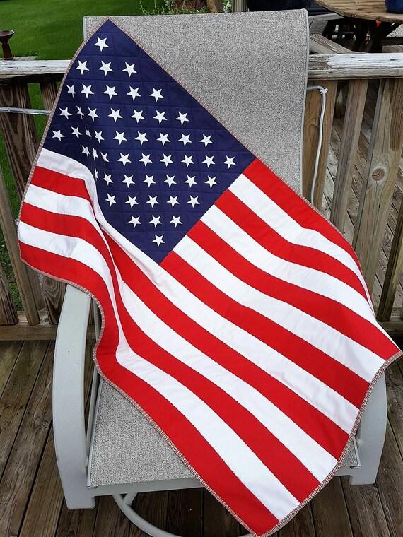 PATRIOTIC AMERICAN FLAG Quilt For Sale Stars and Stripes Red : american flag quilts for sale - Adamdwight.com