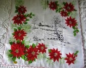 Hold for Deb Christmas Poinsettia Handkerchief Winter Scene Bright Cotton Print Hankie Vintage Holiday Cocktail Party Purse Accessory