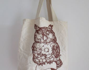 Vintage Owl Tote Cotton market bag Flower and Owl tote bag Hipster Book Bag Everyday Carry all commuter tote