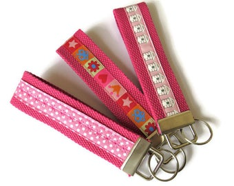 Pink Cotton Webbing Key Fobs x 3 - Wristlet Key Rings  - Webbing Key Carriers - Key Carriers - Webbing Wristlet Key Ring
