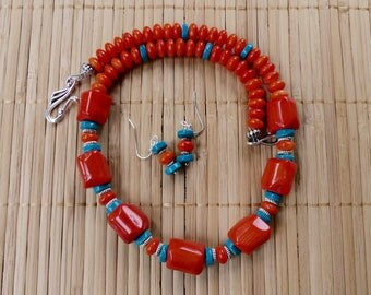 19 Inch Southwestern Orange Coral and Turquoise Necklace with Earrings