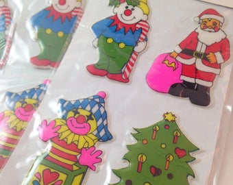 vintage nos christmas puffy stickers, santa claus, jack in the box, christmas tree, elf, by frank's, set of 3 sheets, 12 stickers