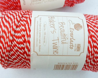 Everlasto  Beefeater Red Bakers Twine - 100m RED and WHITE