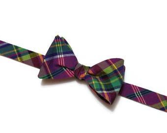 Mardi Gras Bow Tie~Mens Self Tie Bow Tie~Anniversary Gift~Purple Green Bow Tie~Mardi Gras~Plaid Bow Tie