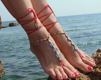 Red crochet barefoot sandals Spiral barefoot sandals Hippie sandals Toe ring anklet Festival beach ethnic Foot jewelry Red sandals