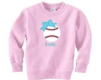 SALE Baseball Sweatshirt, Toddler Sweatshirt, Softball Team Gift, Team Bow, Softball Embroidery, Softball Applique, Sports Gift, Team Softba